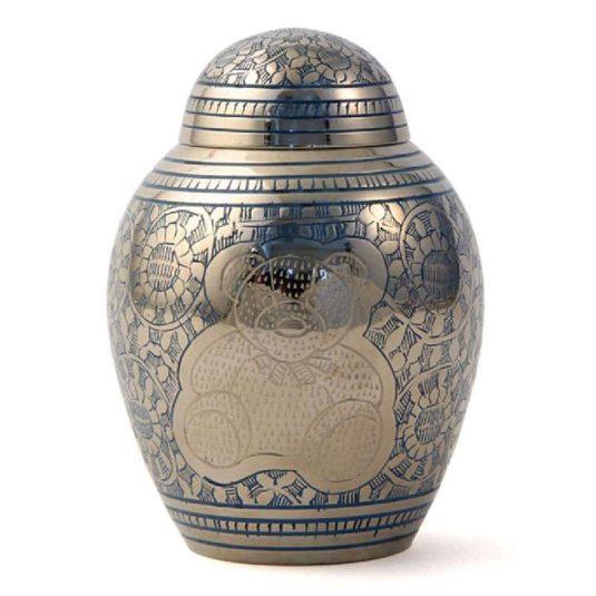 teddy bear keepsake urn - blue