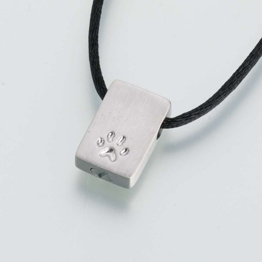 Sterling Silver Rectangle Pendant w/ Paw Print