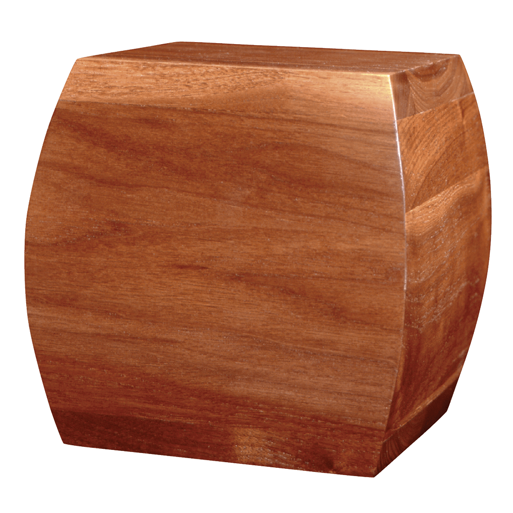 Cube-shaped pine urn with gloss finish.