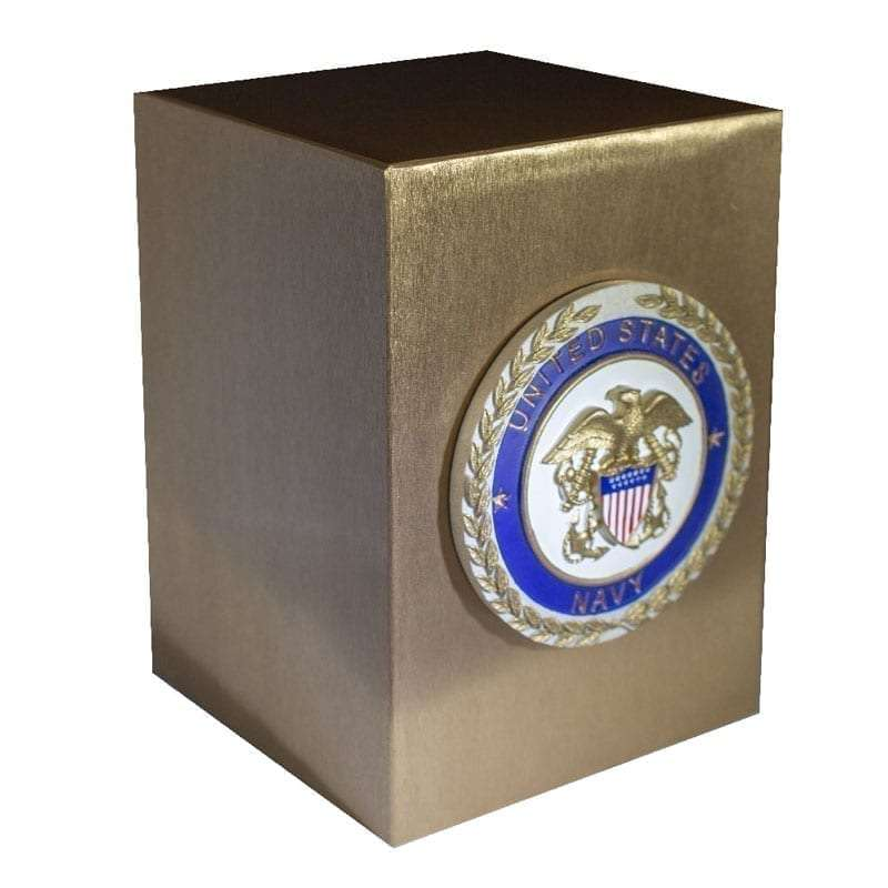 Bronze urn with satin finish and official United States Service Emblem appliqué; Army, Navy, Air Force, Marines, Coast Guard or American Patriot.